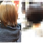 ブリーチで抜けきった髪を一発でマルサラカラーに綺麗にする。